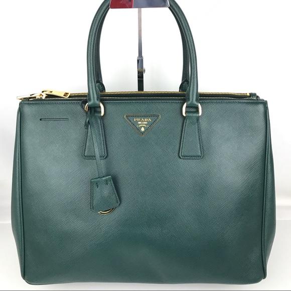 4a090434e0 New Prada Galleria Lux Emerald Green Large Tote. M_5ba53695819e90bf6b1e58da